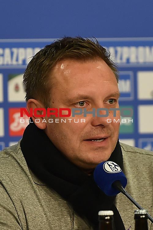 02.03.2016, VELTINS Arena Gelsenkirchen, GER, 1.FBL.  FC Schalke 04 Vs. Hamburger SV , <br /> im Bild / picture shows: <br /> Pressekonferenz auf Schalke Andr&eacute; Breitenreiter (Trainer FC Schalke 04) fr&ouml;hlich gestimmt nach dem Sieg &uuml;ber Hamburg <br /> <br /> <br /> <br /> Foto &copy; nordphoto / Meuter