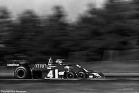 Patrick Depailler drives the Tyrrell P34 six-wheel Formula 1 car during the 1976 Grand Prix of Canada at Mosport.