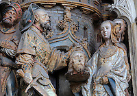 The beheading of St John, polychrome high relief in the second row on the North side of the Gothic choir screen in the North ambulatory, 1490-1530, commissioned by canon Adrien de Henencourt and made by the sculptor Antoine Ancquier, depicting the life of St John the Baptist, at the Basilique Cathedrale Notre-Dame d'Amiens or Cathedral Basilica of Our Lady of Amiens, built 1220-70 in Gothic style, Amiens, Picardy, France. Amiens Cathedral was listed as a UNESCO World Heritage Site in 1981. Picture by Manuel Cohen