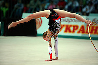 "Olga Kapranova of Russia performs walkover with hoop at 2008 World Cup Kiev, ""Deriugina Cup"" in Kiev, Ukraine on March 23, 2008."