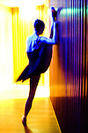 "English National Ballet. Royal Festival Hall season. Triple Bill ""Festival Ballet"" A dancer stretches backstage"