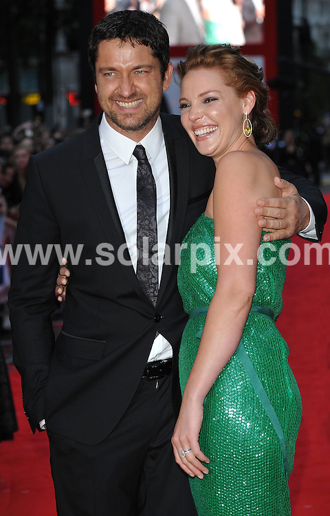 **ALL ROUND PICTURES FROM SOLARPIX.COM**.**WORLDWIDE SYNDICATION RIGHTS**.Premiere of The Ugly Truth at The Vue cinema, Leicester Square, London, UK. 4 August 2009 ..This pic: Gerard Butler and Katherine Heigl..JOB REF: 9698 SSD     DATE: 04_08_2009.**MUST CREDIT SOLARPIX.COM OR DOUBLE FEE WILL BE CHARGED**.**MUST NOTIFY SOLARPIX OF ONLINE USAGE**.**CALL US ON: +34 952 811 768 or LOW RATE FROM UK 0844 617 7637**