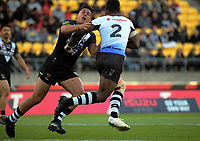 New Zealand's Joseph Tapine tackles Fiji's Suliasi Vunivalu during the 2017 Rugby League World Cup quarterfinal match between New Zealand Kiwis and Fiji at Wellington Regional Stadium in Wellington, New Zealand on Saturday, 18 November 2017. Photo: Dave Lintott / lintottphoto.co.nz