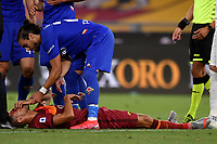 Lorenzo Pellegrini of AS Roma injured injured, has a nosebleed during the Serie A football match between AS Roma and ACF Fiorentina at stadio Olimpico in Roma (Italy), July 26th, 2020. Play resumes behind closed doors following the outbreak of the coronavirus disease. <br /> Photo Antonietta Baldassarre / Insidefoto