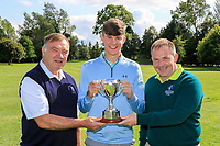 Martin Hynes (Connacht Golf) and Joe Burke (Captain Mountbellew GC) presents the Cup to Cormac Feeney (Enniscrone) winner of the U16's Final during the Connacht U12, U14, U16, U18 Close Finals 2019 in Mountbellew Golf Club, Mountbellew, Co. Galway on Monday 12th August 2019.<br /> <br /> Picture:  Thos Caffrey / www.golffile.ie<br /> <br /> All photos usage must carry mandatory copyright credit (© Golffile | Thos Caffrey)