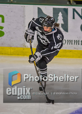 1 February 2015: Providence College Friar Defender Kendra Goodrich, a Sophomore from Apple Valley, MN, in third period action against the University of Vermont Catamounts at Gutterson Fieldhouse in Burlington, Vermont. The Friars fell to the Lady Cats 7-3 in Hockey East play. Mandatory Credit: Ed Wolfstein Photo *** RAW (NEF) Image File Available ***