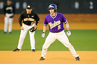 Aaron Attaway #3 of the Western Carolina Catamounts takes his lead off of second base against the Wake Forest Demon Deacons at Gene Hooks Field on February 22, 2011 in Winston-Salem, North Carolina.  Photo by Brian Westerholt / Four Seam Images