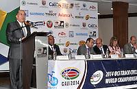 CALI - COLOMBIA - 21-01-2014: Ubeimar Delgado, Gobernador del Valle del Cauca, habla durante presentación del Campeonato Mundial de Ciclismo en Pista UCI 2014, que se realizara en el Velodromo Alcides Nieto Patiño de la ciudad de Cali del 26 de febrero al 2 de marzo del presente año, con la participación de 38 paises y mas de 250 deportistas. / Ubeimar Delgado, Governor of Valle del Cauca, speaks during presentation of the World Championships 2014 UCI Track Cycling, which will be held at the Alcides Nieto Patiño Velodrome in Cali from February 26 to March 2 this year, with the participation of 38 countries and over 250 athletes. Photo: VizzorImage / Luis Ramirez / Staff.
