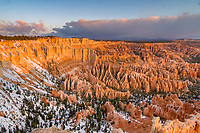 winter snow over red rocks and hoodoos, Bryce Amphitheater, Bryce Canyon National Park, Utah, USA