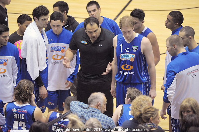 Saints coach Pero Cameron talks to his team during the national basketball league match between Wellington Saints and Southland Sharks at the TSB Bank Arena, Wellington, New Zealand on Friday, 5 July 2013. Photo: Dave Lintott / lintottphoto.co.nz