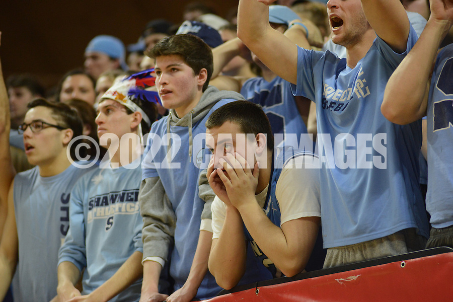 Fans react in the fourth quarter as Shawnee attempst a comeback in the New Jersey Group 4 State Championship game against Linden Sunday March 12, 2017 at Rutgers University in Piscataway, New Jersey. (Photo by William Thomas Cain)