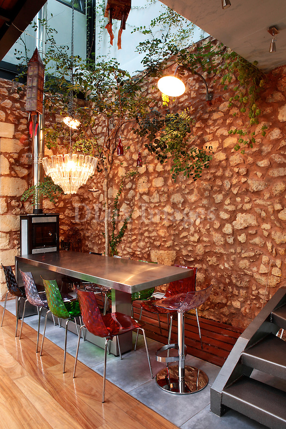 stone wall in the dining room