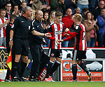 David Brooks of Sheffield Utd replaces Mark Duffy of Sheffield Utd during the Championship League match at Bramall Lane Stadium, Sheffield. Picture date 19th August 2017. Picture credit should read: Simon Bellis/Sportimage
