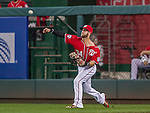 22 August 2015: Washington Nationals outfielder Bryce Harper makes a throw to the infield during a game against the Milwaukee Brewers at Nationals Park in Washington, DC. The Nationals defeated the Brewers 6-1 in the second game of their 3-game weekend series. Mandatory Credit: Ed Wolfstein Photo *** RAW (NEF) Image File Available ***