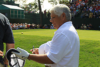1985 Captain Lee Trevino (USA) signs autographs on the 1st tee for the Captains/Celebrity scramble exhibition during Monday's Practice Day of the 39th Ryder Cup at Medinah Country Club, Chicago, Illinois 25th September 2012 (Photo Eoin Clarke/www.golffile.ie)