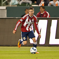 CARSON, CA – APRIL 9, 2011: Chivas USA midfielder Jorge Flores (19) during the match between Chivas USA and Columbus Crew at the Home Depot Center, April 9, 2011 in Carson, California. Final score Chivas USA 0, Columbus Crew 0.