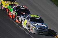 Apr 25, 2009; Talladega, AL, USA; NASCAR Nationwide Series driver Brad Keselowski (88) leads teammate Dale Earnhardt Jr (5) during the Aarons 312 at the Talladega Superspeedway. Mandatory Credit: Mark J. Rebilas-