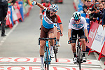 Alexandre Geniez (FRA) AG2R La Mondiale wins Stage 12 with Dylan Van Baarle (NED) Team Sky in 2nd place, of the La Vuelta 2018, running 181.1km from Mondonedo to Faro de Estaca de Bares. Manon, Spain. 6th September 2018.<br /> Picture: Unipublic/Photogomezsport | Cyclefile<br /> <br /> <br /> All photos usage must carry mandatory copyright credit (&copy; Cyclefile | Unipublic/Photogomezsport)