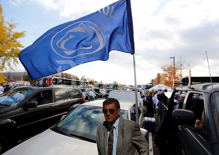 A life-size cutout of former Penn State football coach Joe Paterno is set up with the tailgaters before Saturday's NCAA Division I football game at Beaver Stadium in University Park, PA on October 25, 2014. (Columbus Dispatch photo by Jonathan Quilter)