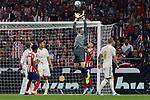 Angel Martin Correa of Atletico de Madrid and Thibaut Courtois of Real Madrid during La Liga match between Atletico de Madrid and Real Madrid at Wanda Metropolitano Stadium in Madrid, Spain. September 28, 2019. (ALTERPHOTOS/A. Perez Meca)