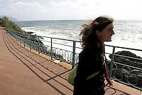 Passeggiata sul lungomare di Nervi, a Genova.<br /> Seafront promenade at Nervi, Genoa.<br /> UPDATE IMAGES PRESS/Riccardo De Luca