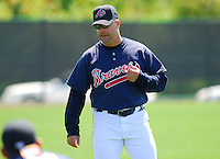 March 17, 2007: Atlanta Braves strength and conditioning coach Phil Falco supervises warmup stretching during Spring Training in 2007. Falco, a roving instructor with the Braves organization at that time, was named strength and conditioning coach for the Atlanta parent club in June 2008.
