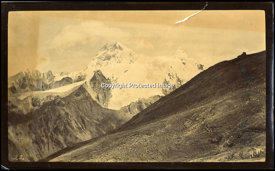 BNPS.co.uk (01202 558833)<br /> Pic: HAldridge/BNPS<br /> <br /> ***Please Use Full Byline***<br /> <br /> Mount Everest.<br /> <br /> A collection of never-seen-before photographs taken during the controversial 1903 British Mission to Tibet has come to light.<br /> <br /> The rare snaps were taken by an officer during the campaign - the first time the British were given access to the country.<br /> <br /> They depict the haunting beauty of the secluded country and brought images of Tibeten landscapes including Mount Everest to the west for the first time.<br /> <br /> The set contains 140 sepia pictures of Tibetan buildings, people and soldiers, including a particularly poignant photograph of a British gunner manning a Maxim machine gun.<br /> <br /> Early in the campaign, troops gunned down 700 lightly armed Tibetan monks standing in their path in the infamous Massacre of Chumik Shenko.<br /> <br /> The slaughter was so brutal that Lieutenant Arthur Hadow, commander of the Maxim guns detachment, wrote afterwards: &quot;I got so sick of the slaughter that I ceased fire.<br /> <br /> &quot;I hope I shall never again have to shoot down men walking away.&quot;<br /> <br /> The expedition began in December 1903 when around 3,000 troops marched into the country from India led by Colonel Francis Younghusband.<br /> <br /> It was initiated by Lord George Curzon, the Viceroy of India, to prevent Russia gaining influence in Tibet.<br /> <br /> They reach the capital Lhasa in August 1904, when the government signed a treaty effectively turning the country into a British protectorate.<br /> <br /> The photo archive is being sold by desecendents of one of the officers on the trip from southern England after languishing in a drawer for years.<br /> <br /> The collection is tipped to fetch 1,200 pounds when it goes under the hammer.