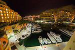 Yacht harbor in St Julien, Malta, at night