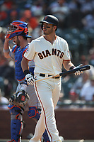 SAN FRANCISCO, CA - SEPTEMBER 2:  Chris Shaw #26 of the San Francisco Giants walks back to the dugout after striking out against the New York Mets during the game at AT&T Park on Sunday, September 2, 2018 in San Francisco, California. (Photo by Brad Mangin)