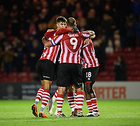 Lincoln City's Matt Green celebrates scoring the opening goal with team-mates<br /> <br /> Photographer Chris Vaughan/CameraSport<br /> <br /> The EFL Checkatrade Trophy Northern Group H - Lincoln City v Wolverhampton Wanderers U21 - Tuesday 6th November 2018 - Sincil Bank - Lincoln<br />  <br /> World Copyright © 2018 CameraSport. All rights reserved. 43 Linden Ave. Countesthorpe. Leicester. England. LE8 5PG - Tel: +44 (0) 116 277 4147 - admin@camerasport.com - www.camerasport.com