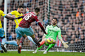 28.02.2015.  London, England. Barclays Premier League. West Ham United versus Crystal Palace.  West Ham United's Carl Jenkinson was unable to convert this great great chance late on, after a save from Crystal Palace's goalkeeper Julian Speroni