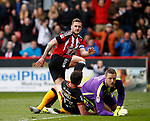 Billy Sharp of Sheffield Utd scores the second goal during the English League One match at Bramall Lane Stadium, Sheffield. Picture date: April 17th 2017. Pic credit should read: Simon Bellis/Sportimage
