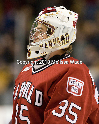 Ryan Carroll (Harvard - 35) - The Boston College Eagles defeated the Harvard University Crimson 6-0 on Monday, February 1, 2010, in the first round of the 2010 Beanpot at the TD Garden in Boston, Massachusetts.