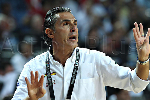 08.09.2010 Spain's Coach Sergio Scariolo gestures during The Quarter Finals Match against Serbia in The 2010 FIBA Basketball World Championship in Istanbul, Turkey. Spain Disqualified for The Semi-Finals after Losing to Serbia 89-92.