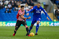 Tyias Browning of Sunderland and Kenneth Zohore of Cardiff City during the Sky Bet Championship match between Cardiff City and Sunderland at the Cardiff City Stadium, Cardiff, Wales on 13 January 2018. Photo by Mark  Hawkins / PRiME Media Images.
