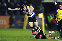 Chris Cook of Bath Rugby takes on the Northampton Saints defence. Aviva Premiership match, between Bath Rugby and Northampton Saints on February 10, 2017 at the Recreation Ground in Bath, England. Photo by: Patrick Khachfe / Onside Images