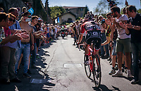 Julien Bernard (FRA/Trek-Segafredo) cheered on towards the Città Alta in bergamo<br /> <br /> Stage 15: Valdengo › Bergamo (199km)<br /> 100th Giro d'Italia 2017