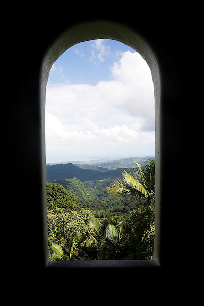 The view of the landscape surrounding El Yunque, a subtropical mountainous forest in Puerto Rico, which is also the only tropical rainforest in the U.S. National Forest system, from the Yokahu Observation Tower on 4th January 2012.