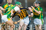 Adrian Royle Kilmoyley in action against Darragh O'Brien Abbeydorney in the Kerry County Senior Hurling Championship in Austin Stack Park Tralee on Sunday.