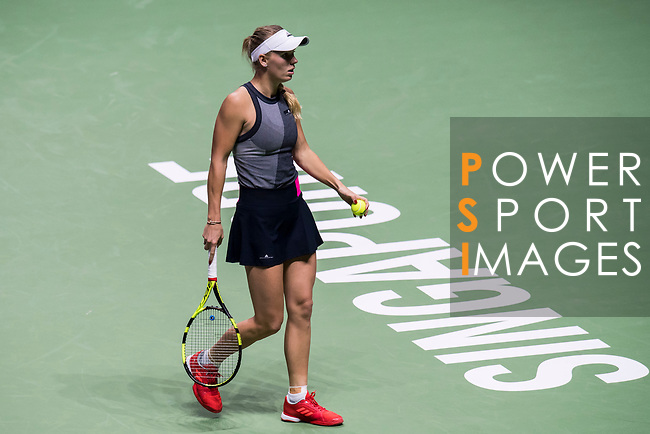 Caroline Wozniacki of Denmark reacts in her singles match against Caroline Garcia of France during the BNP Paribas WTA Finals Singapore presented by SC Global at Singapore Sports Hub on 27 October 2017 in Singapore. Photo by Victor Fraile / Power Sport Images