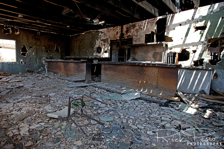 The counter still stands in the Ludlow Cafe after being burnt by fire.
