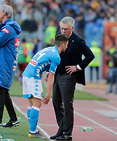 Dries Mertens of Napoli and Carlo Ancelotti coach of Napoli   during the  italian serie a soccer match, AS Roma -  SSC Napoli       at  the Stadio Olimpico in Rome  Italy , March 31, 2019