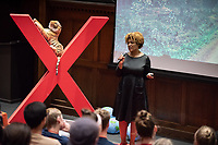 "Marquita Thomas '95, Executive Director of the Los Angeles Gay & Lesbian Chamber of Commerce, talks about ""Economic Advancements for LGBTQ Entrepreneurs.""<br /> Occidental College hosts TEDxOccidentalCollege on April 21, 2018 in Choi Auditorium of Johnson Hall. Students, faculty, alums and guest speakers delivered their TEDx Talk on the theme, Shifting Ecosystems of Power.<br /> (Photo by Marc Campos, Occidental College Photographer)"