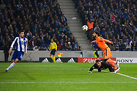 Liverpool's Mohamed Salah controls the ball on the way to scoring his side's second goal <br /> <br /> Photographer Craig Mercer/CameraSport<br /> <br /> UEFA Champions League Round of 16 First Leg - FC Porto v Liverpool - Wednesday 14th February 201 - Estadio do Dragao - Porto<br />  <br /> World Copyright &copy; 2018 CameraSport. All rights reserved. 43 Linden Ave. Countesthorpe. Leicester. England. LE8 5PG - Tel: +44 (0) 116 277 4147 - admin@camerasport.com - www.camerasport.com