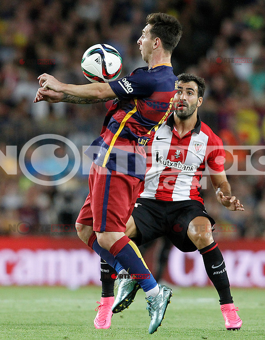 FC Barcelona's Leo Messi (f) and Athletic de Bilbao's Mikel Balenziaga during Supercup of Spain 2nd match.August 17,2015. (ALTERPHOTOS/Acero)