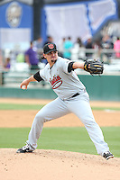 Zack Godley (24) of the Visalia Rawhide pitches during a game against the Rancho Cucamonga Quakes at LoanMart Field on May 6, 2015 in Rancho Cucamonga, California. Visalia defeated Rancho Cucamonga, 7-2. (Larry Goren/Four Seam Images)