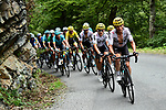 Vasil Kiryienka (BLR) Team Sky leads the peloton during Stage 12 of the 104th edition of the Tour de France 2017, running 214.5km from Pau to Peyragudes, France. 13th July 2017.<br /> Picture: ASO/Alex Broadway | Cyclefile<br /> <br /> <br /> All photos usage must carry mandatory copyright credit (&copy; Cyclefile | ASO/Alex Broadway)