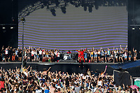 Pictured: Fans join Jared Leto of Thirty Second To Mars on stage. Sunday 27 May 2018<br /> Re: BBC Radio 1 Biggest Weekend at Singleton Park in Swansea, Wales, UK.
