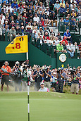 20.07.2014. Hoylake, England. Rory McIlroy of Northern Ireland plays a bunker shot at the 18th hole during the final round of the 143rd British Open Championship at Royal Liverpool Golf Club in Hoylake, England.