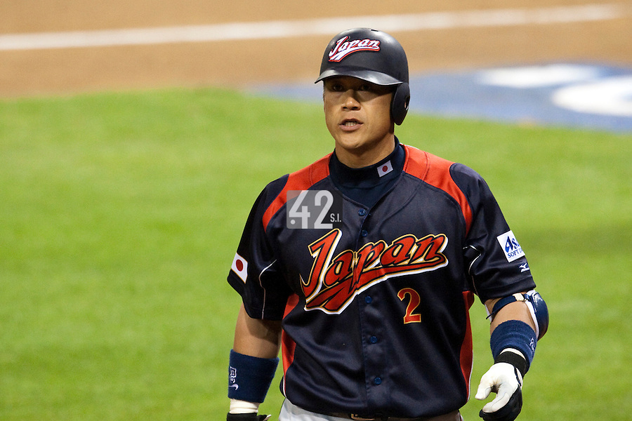 17 March 2009: #2 Kenji Johjima of Japan looks dejected after being called on strikes during the 2009 World Baseball Classic Pool 1 game 4 at Petco Park in San Diego, California, USA. Korea wins 4-1 over Japan.